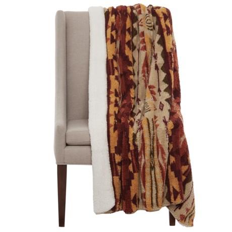 """Artisan Deluxe Apache Sherpa Fleece Throw Blanket - 50x60"""" in Harvest"""