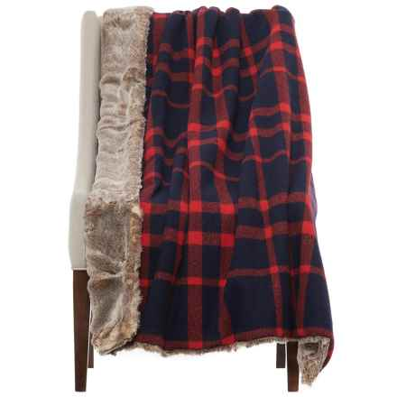"Artisan Deluxe Faux-Fur Reversible Throw Blanket - 50x60"" in Tan/ Navy/Red - Closeouts"