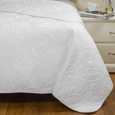 Artisan Deluxe Kalamata Quilted Coverlet - Full-Queen in Bright White