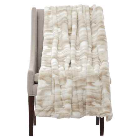 "Artisan Deluxe Kylie Faux-Fur Throw Blanket - 50x60"" in White/Tan - Closeouts"