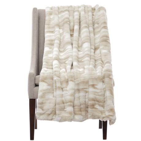 "Artisan Deluxe Kylie Faux-Fur Throw Blanket - 50x60"" in White/Tan"