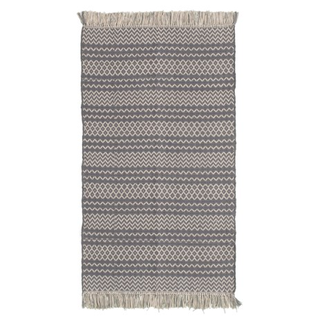 Artisan Home Bohemian Look Tassle Accent Rug - 3x5' in Ivory Grey