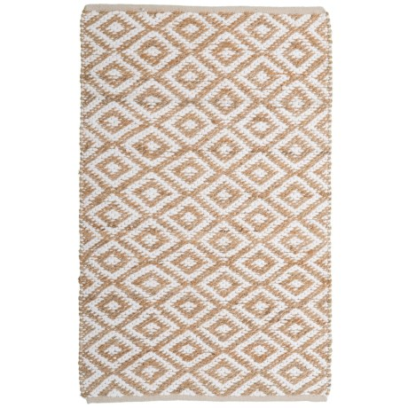"""Artisan Home Diamond Jute-Cotton Accent Rug - 36x60"""" in Natural"""