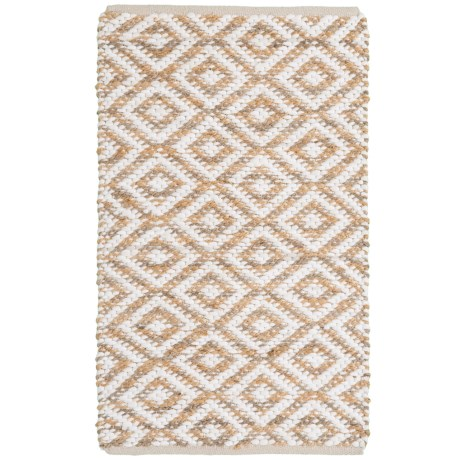 """Artisan Home Diamond Jute-Cotton Accent Rugs - 27x45"""" in Natural"""