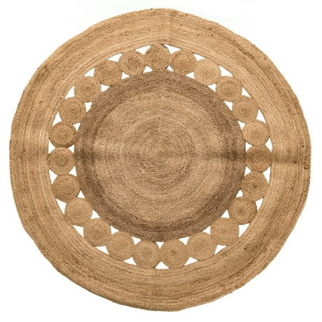 Artisan Home Made in India Jute Round Area Rug - 5' in Jute