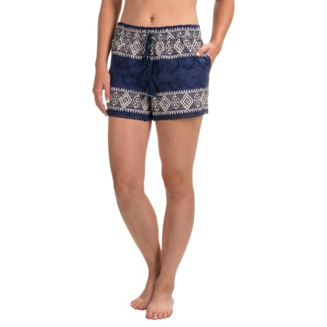 Artisan NY Batik Embroidered Shorts (For Women) in Navy