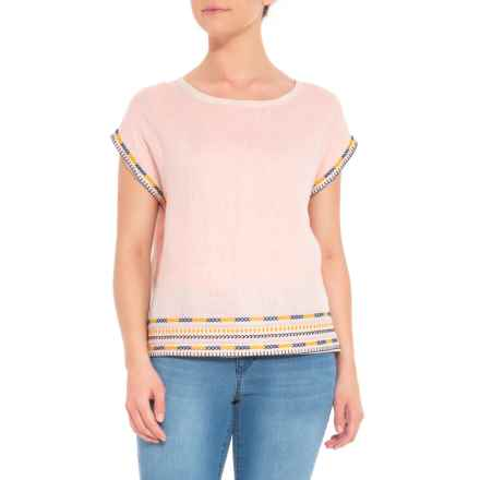 Artisan NY Button-Back Embroidered Shirt - Short Sleeve (For Women) in Cream/Blue/Gold - Closeouts