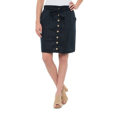 Artisan NY Button-Front Linen Skirt (For Women) in Navy
