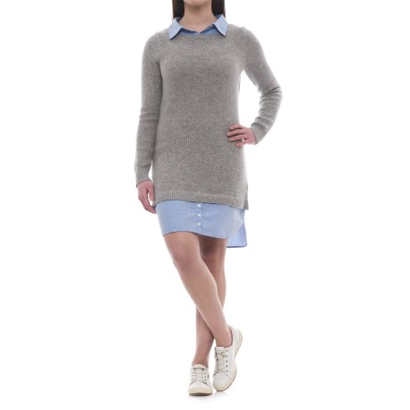 Artisan NY Collared Sweater Dress - Long Sleeve (For Women) in Grey/Chambray