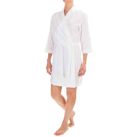 Artisan NY Cotton Robe - Elbow Sleeve (For Women) in White - Closeouts
