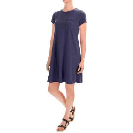 Artisan NY Cotton Slub Trapeze Dress - Short Sleeve (For Women) in Lake Bottom - Closeouts