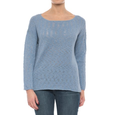 Artisan NY Crochet Trim Cotton Slub Sweater (For Women) in Chambray Marl