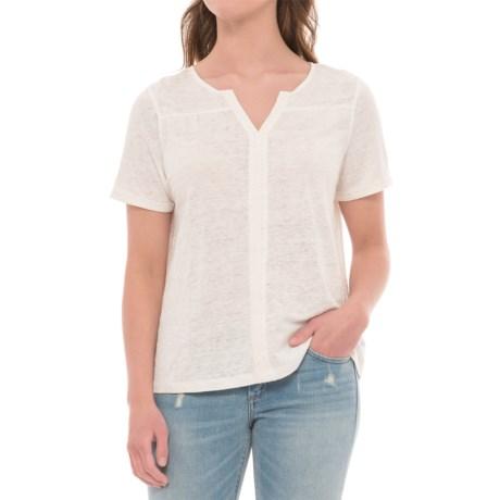 Artisan NY Crochet-Trim Linen Shirt - Short Sleeve (For Women) in Oyster