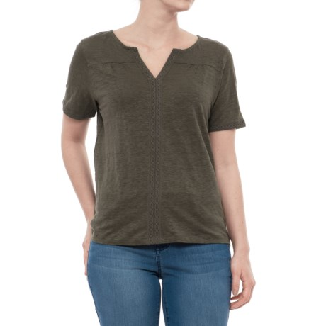 Artisan NY Crochet-Trim Linen Shirt - Short Sleeve (For Women) in Surplus