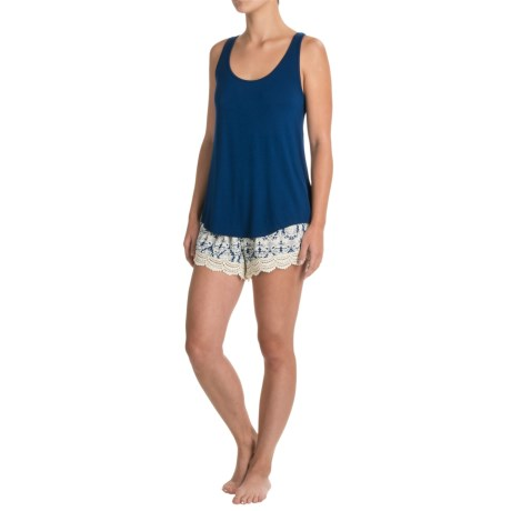 Artisan NY Crochet Trim Swing Tank Top and Woven Shorts (For Women) in Navy/Navy Peru
