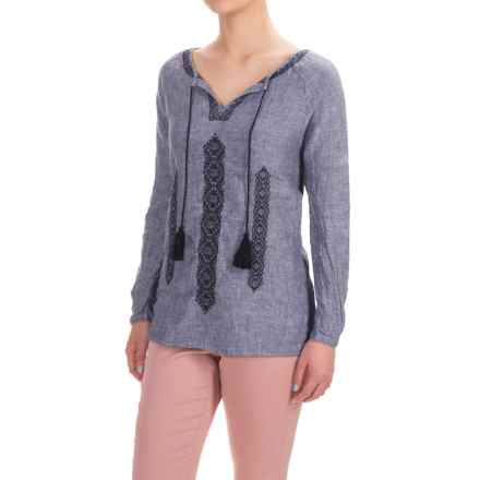 Artisan NY Cross-Dye Embroidered Peasant Top - Linen, Long Sleeve (For Women) in Indigo W/Navy - Overstock