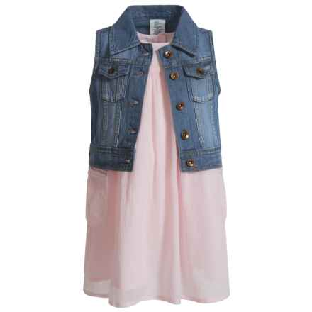 Artisan NY Dress and Denim Vest Set - Sleeveless (For Toddler Girls) in Blush - Closeouts