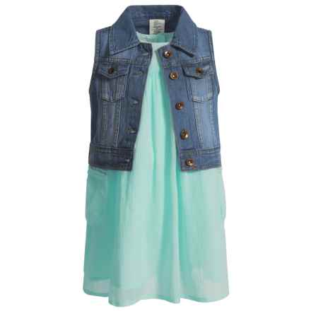 Artisan NY Dress and Denim Vest Set - Sleeveless (For Toddler Girls) in Mint - Closeouts