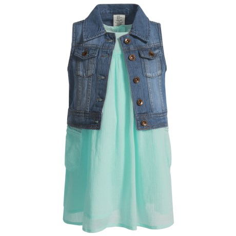 Artisan NY Dress and Denim Vest Set - Sleeveless (For Toddler Girls) in Mint