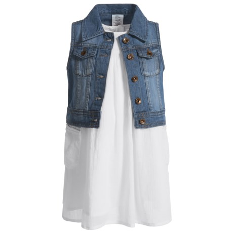 Artisan NY Dress and Denim Vest Set - Sleeveless (For Toddler Girls) in White