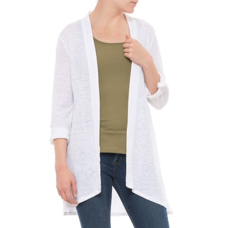 Artisan NY Duster Sweater - Long Roll-Tab Sleeve (For Women) in White