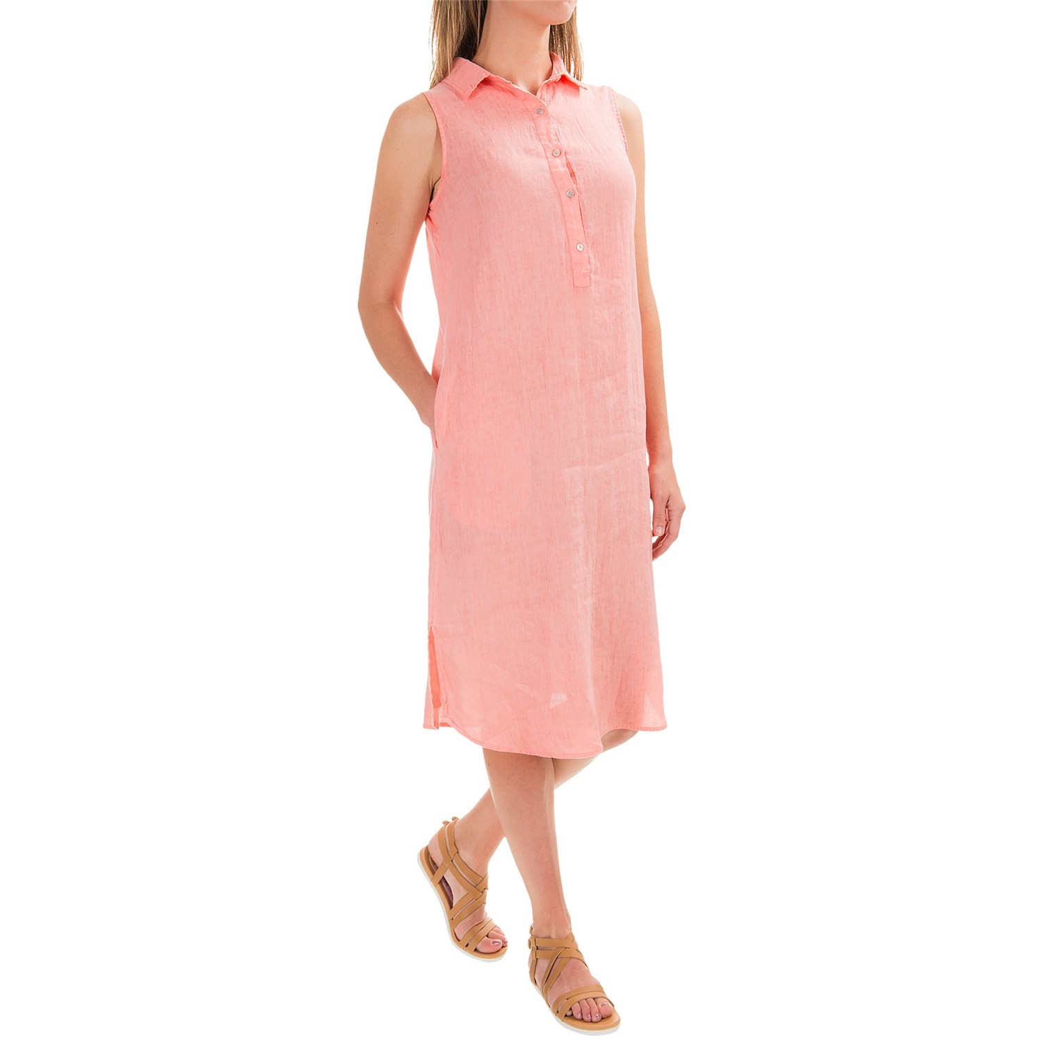 Artisan Ny Dyed Linen Henley Dress For Women Save 52