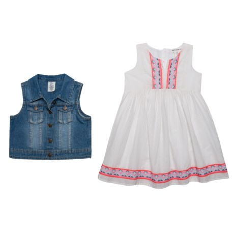 Artisan NY Embroidered Empire Dress and Denim Vest Set - Sleeveless (For Little and Big Girls) in Marshmallow