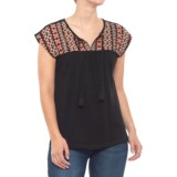 Artisan NY Embroidered Yoke Tank Top (For Women)