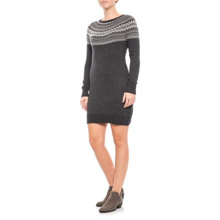Artisan NY Fair Isle Sweater Dress - Long Sleeve (For Women) in Charcoal  Heather 96e7c2bab