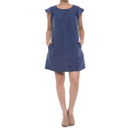 Artisan NY Flutter-Sleeve Linen Dress - Short Sleeve (For Women) in Murky Water - Closeouts