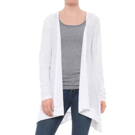 Artisan NY Heathered Linen Cardigan Shirt - Long Sleeve (For Women) in White - Closeouts