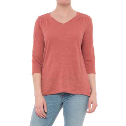 Artisan NY High-Low V-Neck Shirt - Linen, 3/4 Sleeve (For Women) in Soft Henna - Closeouts