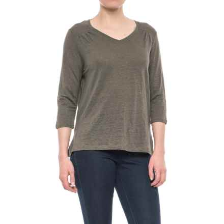 Artisan NY High-Low V-Neck Shirt - Linen, 3/4 Sleeve (For Women) in Surplus - Closeouts