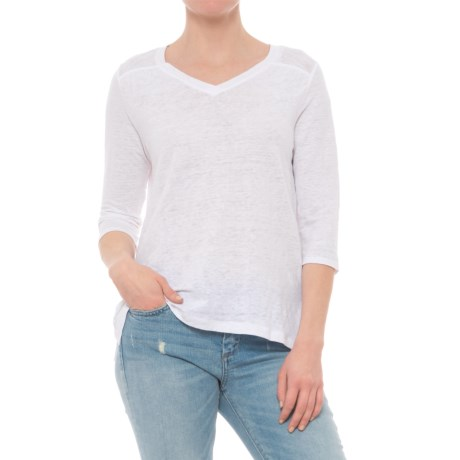 Artisan NY High-Low V-Neck Shirt - Linen, 3/4 Sleeve (For Women) in White