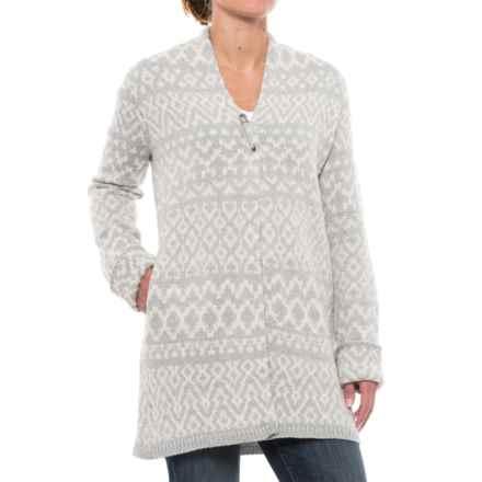 Artisan NY Jacquard Cardigan Sweater (For Women) in Whitecap Grey Heather/Pumice - Closeouts