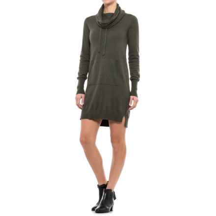 Artisan NY Kanga Pocket Sheath Dress - Cowl Neck, Long Sleeve (For Women) in Chive Heather - Closeouts