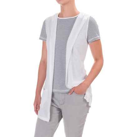 Artisan NY Knit Hoodie Sleeveless Cardigan - Linen Blend (For Women) in Carrera White - Overstock