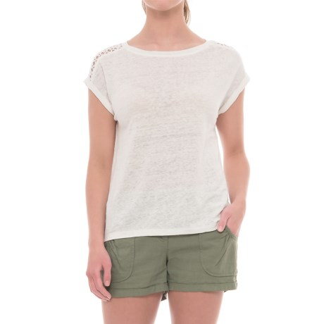 Artisan NY Lace and Linen Dolman Shirt - Short Sleeve (For Women) in Oyster