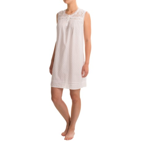 Artisan NY Lacy Chemise Nightshirt - Sleeveless (For Women) in White