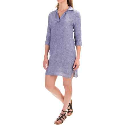 Artisan NY Linen Chambray Shirt Dress - Long Sleeve (For Women) in Indigo Crossdye - Closeouts