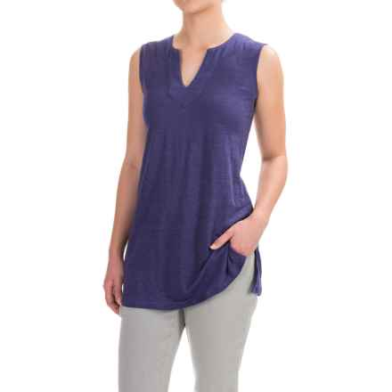Artisan NY Linen High-Low Shirt - V-Neck, Sleeveless (For Women) in Chalk Slate - Closeouts
