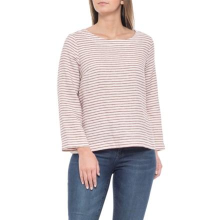 f3411f73 Artisan NY Maroon Scoop Neck Striped Shirt - Linen, 3/4 Sleeve (For
