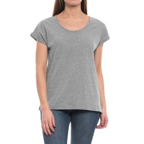 Artisan NY Nube Roll Cuff Shirt - Scoop Neck, Short Sleeve (For Women) in Light Grey