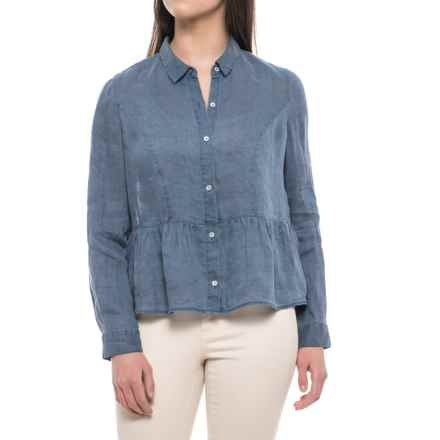 Artisan NY Pigment-Dyed Peplum Shirt - Linen, Long Sleeve (For Women) in Murky Water Pigment Dye - Closeouts