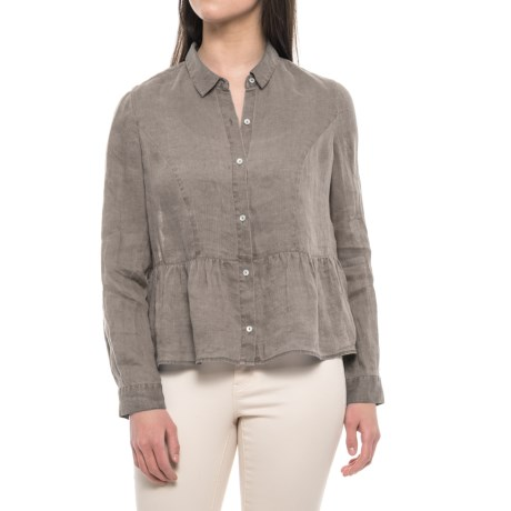Artisan NY Pigment-Dyed Peplum Shirt - Linen, Long Sleeve (For Women) in Washed Grey Pigment Dye