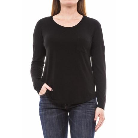 Artisan NY Pocket Tee Modal Shirt - Long Sleeve (For Women) in Black