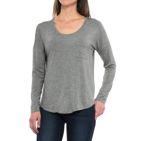 Artisan NY Pocket Tee Modal Shirt - Long Sleeve (For Women) in Trans Ivy Heather