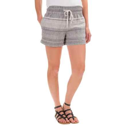 Artisan NY Pull-On Shorts - Linen-Cotton (For Women) in Grey/Ivory Stripe - Closeouts