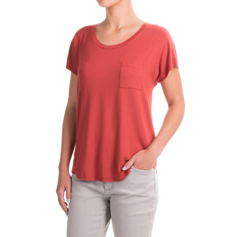 Artisan ny raw edge pocket t shirt for women save 47 for Raw edge t shirt women s