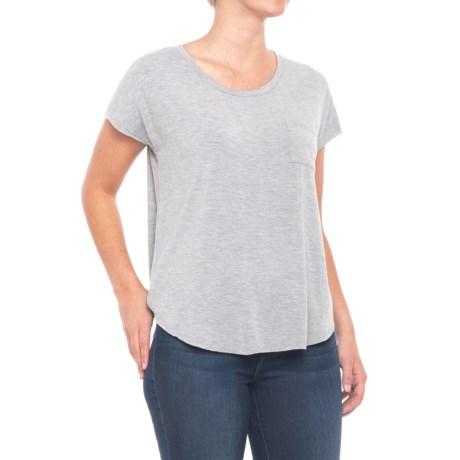 Artisan NY Raw Edge Pocket T-Shirt - Stretch Modal, Short Sleeve (For Women) in Medium Grey Heather